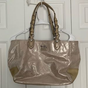 COACH MIA EMBOSSED LEATHER TAN SHIMMER TOTE BAG